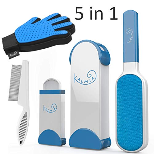 Pet Hair Remover With Self Cleaning Base Grooming Comb and Glove 5-in-1 Combo - Removes Dog, Cat Fur and Lint from Clothing, Furniture Upholstery. Blue Reusable Brush Roller System for Neat Pet Homes