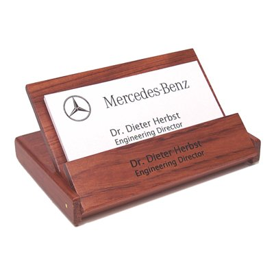 Personalized Rosewood Folding Business Card Holder- Free -