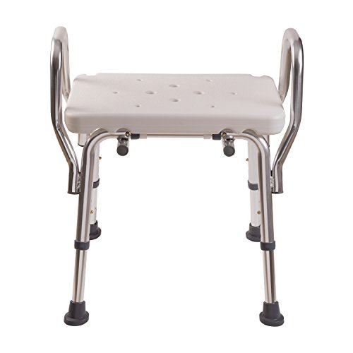 Duro-Med Medical Bath Chair, Adjustable Shower Chair with Arms, Easy No Tool Assembly, White