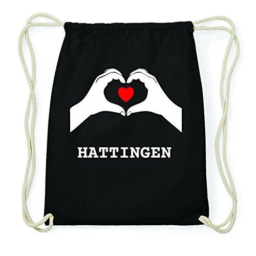 JOllify HATTINGEN Hipster Turnbeutel Tasche Rucksack aus Baumwolle - Farbe: schwarz Design: Hände Herz pV5bomqASO