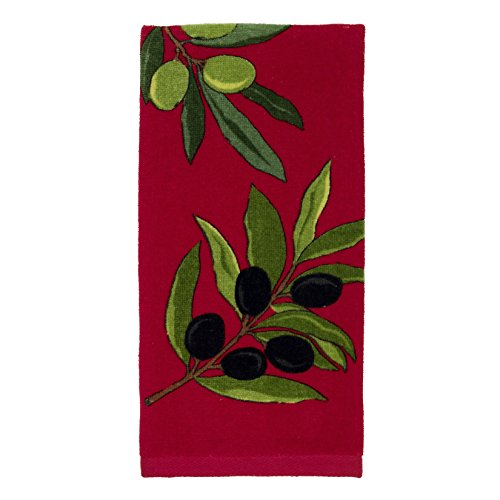 All-Clad Textiles 100-percent Cotton Fiber Reactive Olives Print Kitchen Towel, 17-inch x 30-inch, Chili Red