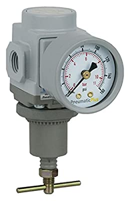 "PneumaticPlus SAR200T-N02BG Mini Compressed Air Pressure Regulator 1/4"" NPT with Gauge & Bracket (T-Handle)"