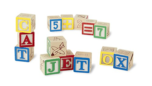 amazon com melissa doug deluxe wooden abc 123 blocks set with