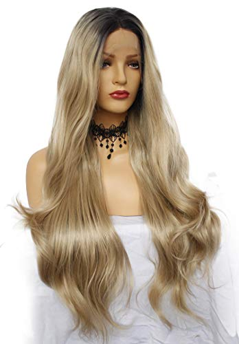 Ebingoo Brown Ombre Dark Roots Lace Front Wig for Black Women Natural Long Wave Synthetic Heat Resistant Fiber Wig Free Part 20 Inch -