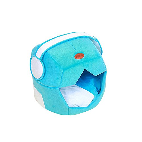 Petsidea Soft Space Dog Bed House Kennels with Removable Cushion Inside, Cute Warm Bed Cave for Small Dogs Cats (Blue)