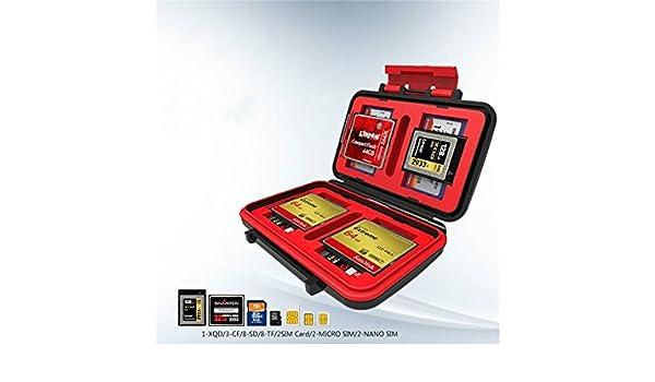 LridSu Port/átil y Conveniente Flash antichoque Impermeable Tarjeta de Memoria Titular de la Caja de Almacenamiento Duro 3X CF 8X SD//SDHC Rojo
