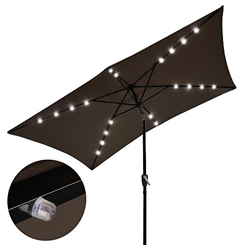 Rectangular Solar Aluminium Umbrella Patio Outdoor 20-LED Li