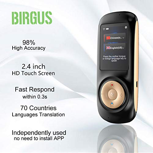 Instant Voice Language Translator Device,Smart Two Way WiFi 2.4inch Touch Screen Portable Translation for Learning Travel Business Shopping-Black by Birgus (Image #2)
