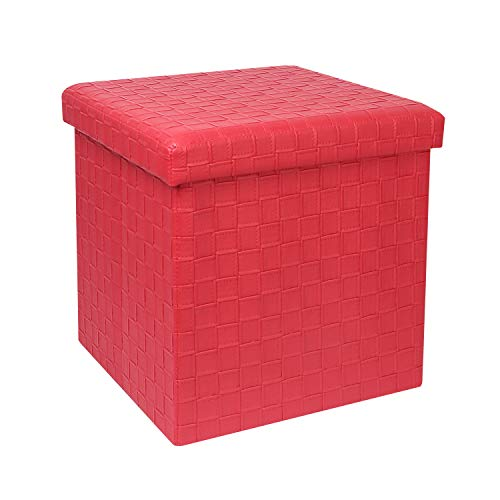 B FSOBEIIALEO Storage Ottoman, Faux Leather Footrest Stool, Folding Storage Box Cube Toy Chest, 15