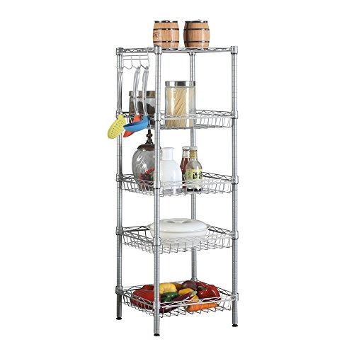 Crazyworld Open Kitchen Metal Rack and Shelves Units, Pots and Pans Wine Dishes Storage Organizer ,Baker's rack, Silver Gray Steel (5 Tiers) (Storage Wine Open)