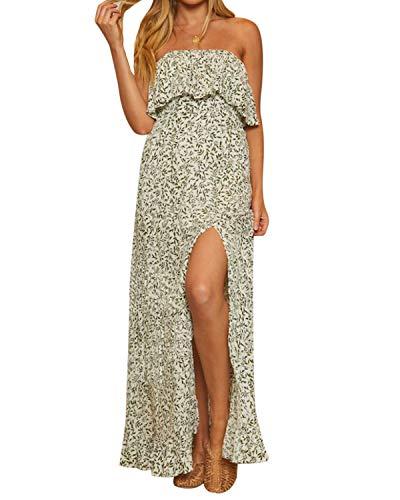 - STYLE DOME Women's Floral Maxi Dresses Casual Sexy Summer Long Dress V Neck Short Sleeve Wrap Split Sundress 03 Green US 10-12