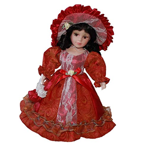 Fityle 30cm Porcelain Doll Victorian Female Figures with Red Dress & Metal Stand Kids Gift