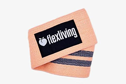 Flex Living Grippy Resistance Exercise Bands to Tone Legs, Butt, Hip - Wide Anti Slip Booty Bands | Best 15 Inch Peach Elastic Workout Bands for Sports Strengthening and Conditioning (2019 Upgraded)