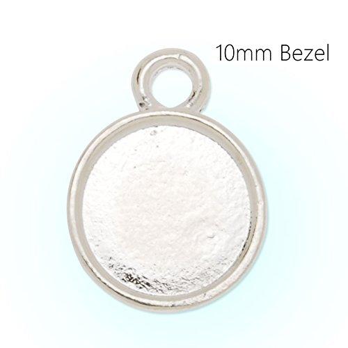 10mm Zinc Alloy Cameo Cabochon Base Setting Pendant,cabochon bezel settings, 20 pieces/lot(Silver plated) ()