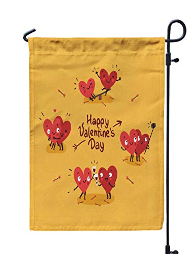 Shorping Decorative Outdoor Garden Flag, 12x18Inch Two Happy Hearts in Love Cute Couple in Love Doing Activities Together d for Holiday and Seasonal Double-Sided Printing Yards Flags