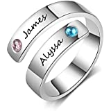 Fortheday Personalized Free Engraving Name BFF Wrap Rings with 2 Simulated Birthstones for Women Adjustable Best Friends Promise Rings