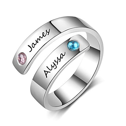Fortheday Custom Personalized Best Friend Rings for 2 Girls Rings for Women Friendship Rings Adjustable Promise Rings Name Engraving(Silver)