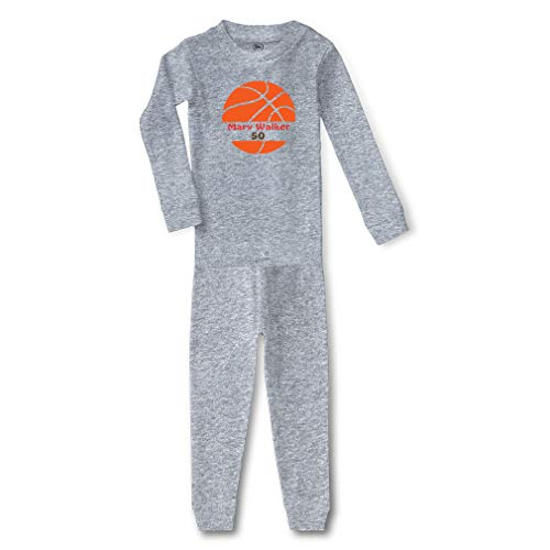 Personalized Custom Basketball Player Sport Cotton Crewneck Boys-Girls Infant Long Sleeve Sleepwear Pajama 2 Pcs Set Top and Pant - Oxford Gray, 3T
