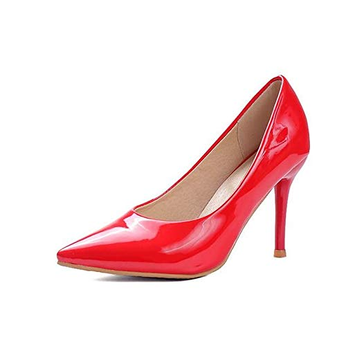 Blanco Zapatos Tacones Primavera Stiletto Confort Red Charol Negro De Rojo Talón QOIQNLSN Mujer HxZCwqTT