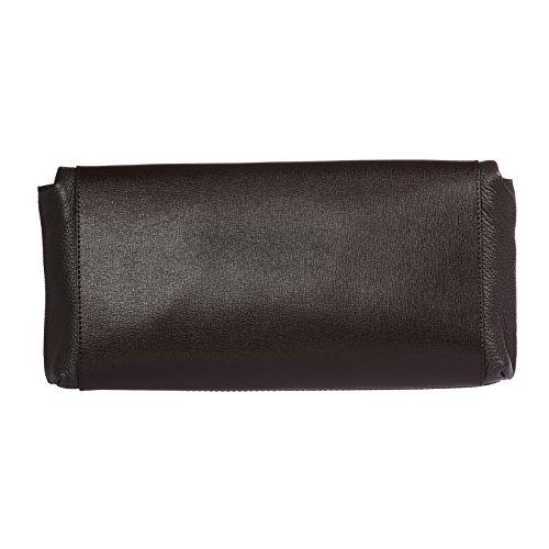 à Brun 34x16x6 femmes Petit Foncé avec cuir Clutch d'épaule 100 Saffiano sangle main cm Calf Trussardi véritable métallique en sac gtUnwaxfgq