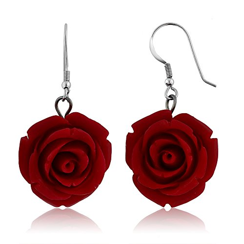 (Gem Stone King 20MM 925 Sterling Silver Red Simulated Coral Carved Rose Flower Earrings)