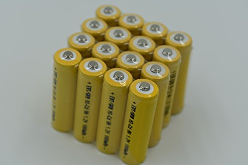 16 Pack Button Top AA NiCd 1000 mAh 1.2 V Rechargeable Batteries for Solar, Remotes, etc (Aa Mah Batteries Nicd)