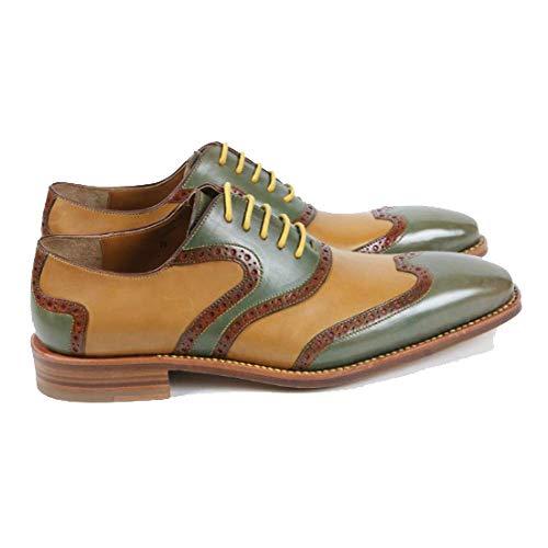 Stringate Scarpe Assorbimento Custom Pelle Greenyellow in Traspiranti Mano Fatte Fashion Uomo A Urti degli da Business Scarpe Wcvrza6W4