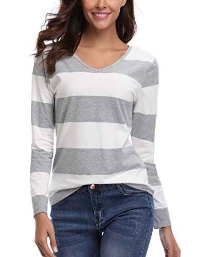 MISS MOLY Womens Long Sleeve Casual V Neck Loose Knit Top Blouse T-Shirt ()