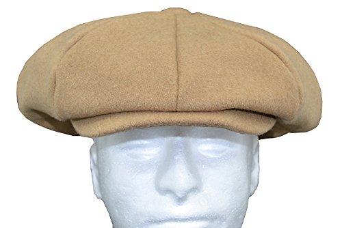 Emstate Mens Melton Wool 8 Panel Applejack Newsboy Baker Boy Cap Made in USA