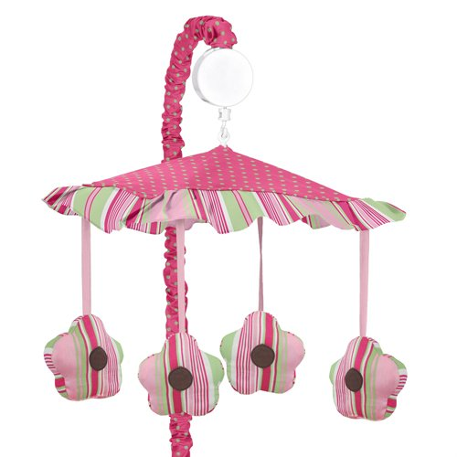 Sweet Jojo Designs Pink and Green Jungle Friends Musical Baby Crib (Jungle Friends Mobile)