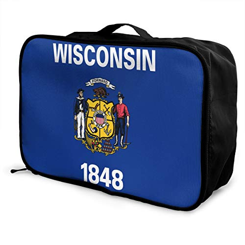 Flag Of Wisconsin Travel Bags Portable Handbag In Trolley Handle Luggage Bag Tote Bag
