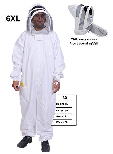 BeeAttire Bee Suit with Easy Access Veil Cotton Thick Sting-Less Protection Pro Beekeeper Suit Beekeeper Costume Adult bee Keeper Costume Beekeeping Suit bee Keeper Suit YKK Zippers (6XL)]()
