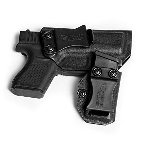 IWB Glock 43 Holster with Magazine Holster | Made in USA by Combat Veteran Owned Company | Mag Pouch | Concealed Carry Clip CCW Holsters Inside The Waistband (Black, Right-Hand Draw (IWB))
