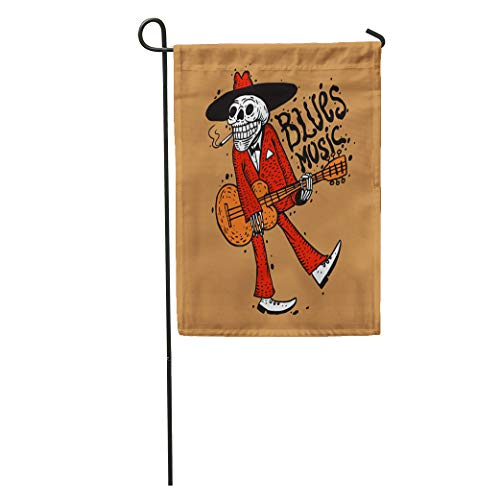 Semtomn Garden Flag Red Halloween Funny Skeleton Playing Guitar Blues Music Rock Mexican Home Yard House Decor Barnner Outdoor Stand 28x40 Inches Flag