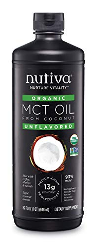 Nutiva USDA Organic Unflavored Premium 32-Ounce MCT Oil, Keto & Paleo Friendly, 100% Non-GMO Organic Fresh Coconuts, Vegan & Great in Coffee, Smoothies, Salads (Nutiva Organic Unrefined Extra Virgin Coconut Oil)
