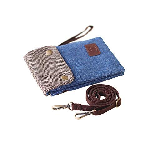 Premium Bag Wallet Cute Pocket Mini Cellphone Crossbody Pouch Blue Dark Canvas Roomy Purse rqSYrwx18
