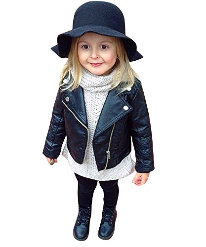 Big Girl's New Style Lapel Neck Button Slim PU Leather Zipper Jacket Coat 1-6years (80cm/1year, Black)