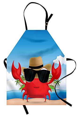 Ambesonne Crabs Apron, Cool Crustacean with Black Sunglasses and a Hat Summer Vacation on Tropical Island, Unisex Kitchen Bib with Adjustable Neck for Cooking Gardening, Adult Size, Red ()