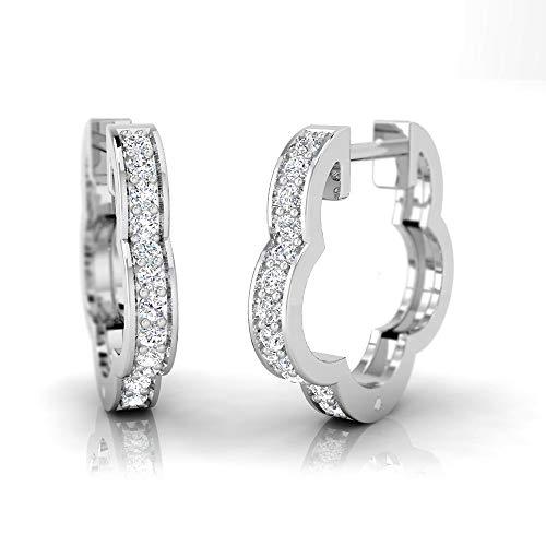 - IGI Certified 1/4 Carat Natural Diamond Sterling Silver Floral Design Huggie Earrings for Women (J-K Color, I2-I3 Clarity)