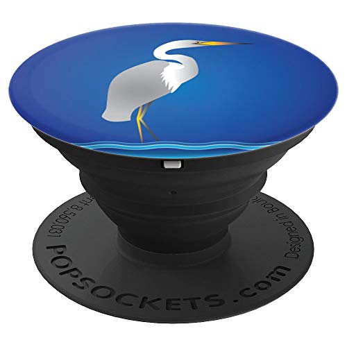 Seashore One Handle - Elegant Egret or Heron at the Seashore - PopSockets Grip and Stand for Phones and Tablets