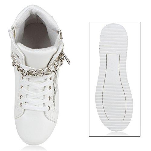 Stiefelparadies Damen Sneaker High Schuhe Leder-Optik Sneakers Zipper Ketten Schnürschuhe Flats Schnallen Flandell Weiss Silber