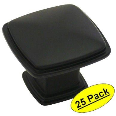 Cosmas 4391FB Flat Black Modern Cabinet Hardware Knob - 1-1/4