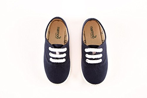 Namoo Kids Lace Sneaker for Boys and Girls, Cotton and Rubber Sole, Baby / Toddler / Kid Shoe (Navy) by Namoo (Image #1)