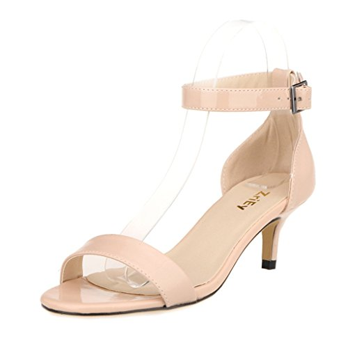 ZriEy Women Sexy Open Toe Ankle Straps Low Heel Sandals Nude size 9