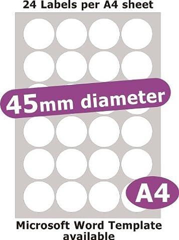 Minilabel 45mm Diameter Round , 120 Labels , Matt Paper , 5 A4 Sheets , Laser Copier Inkjet Stickers