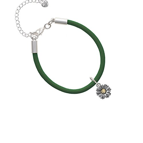 Two Tone Daisy Flower Kelly Green Malibu Paracord Bracelet ()