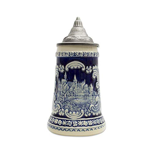 Beer Stein Engraved Bavarian German Castle Lidded Beer Mug by E.H.G. | 0.60 ()