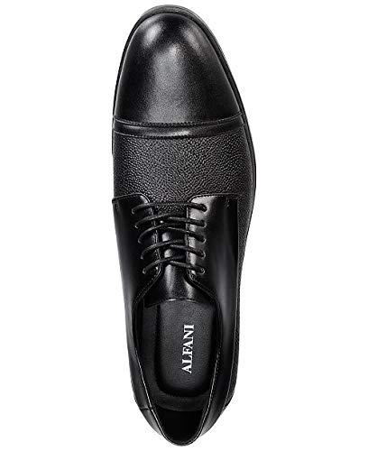Alfani Mens Preston Textured Cap-Toe Oxfords Black