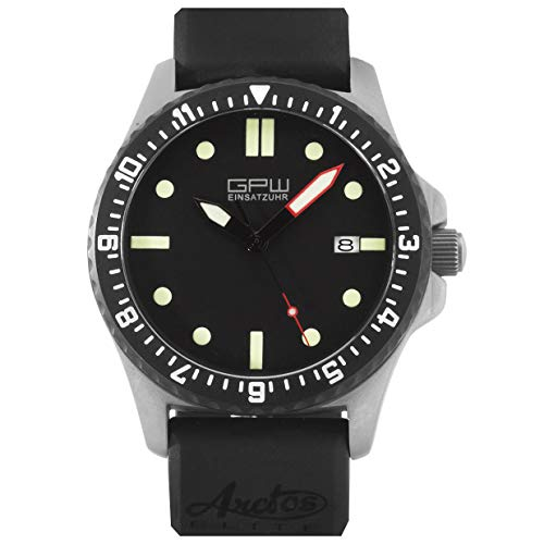 German Military Titanium Automatic Watch. GPW Date. 200M W/R. Sapphire Crystal. Black Rubber Strap.
