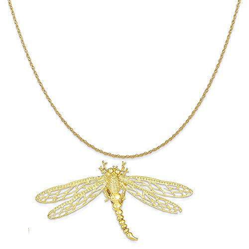 Mireval 14k Yellow Gold Cut-Out Dragonfly Slide Pendant on 14K Yellow Gold Rope Chain Necklace, 18